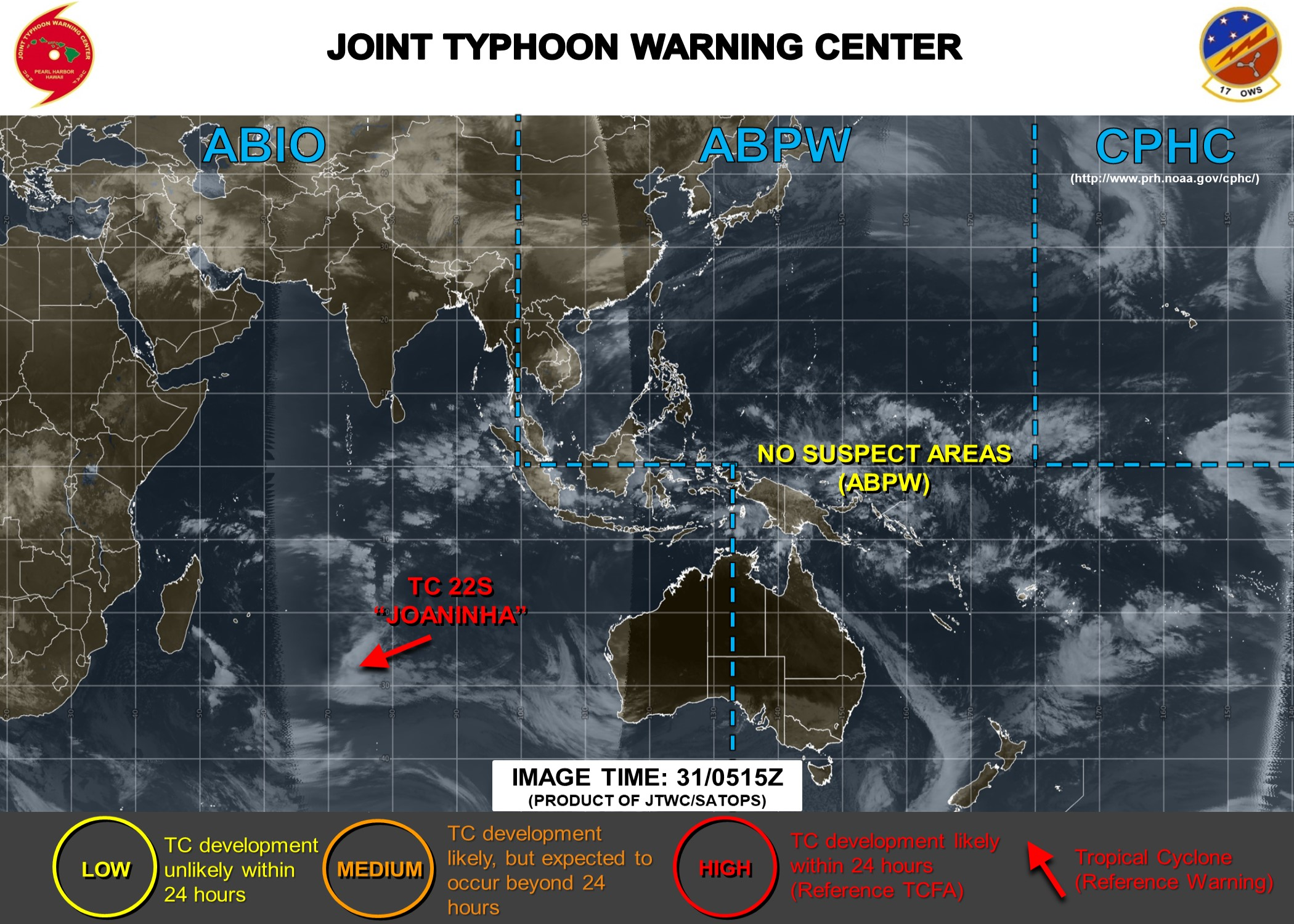 Activité cyclonique: retour au calme probablement pour quelques jours sur la zone du JTWC