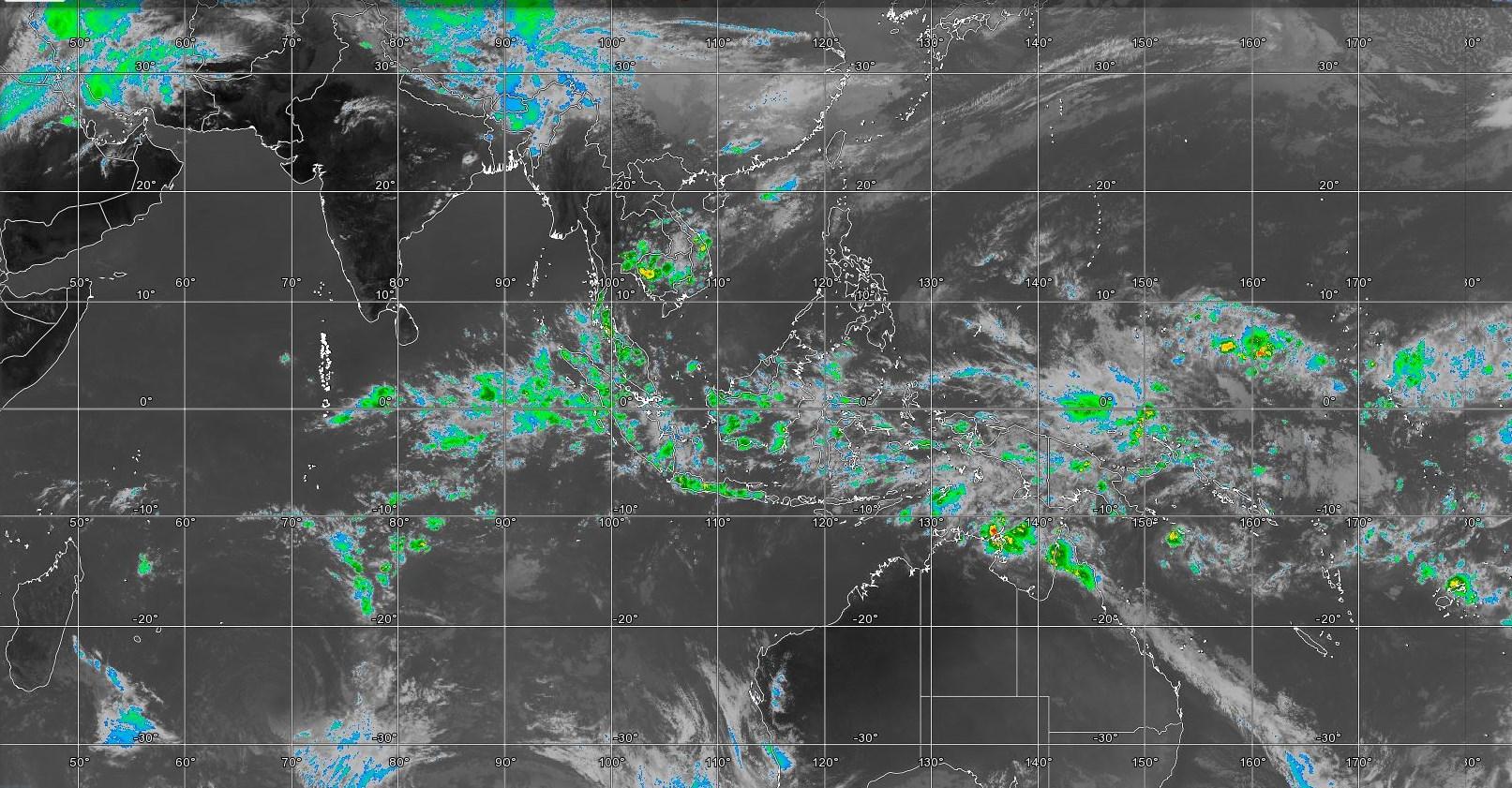 Photo satellite couvrant l'Indien et le Pacifique à midi/Mascareignes.