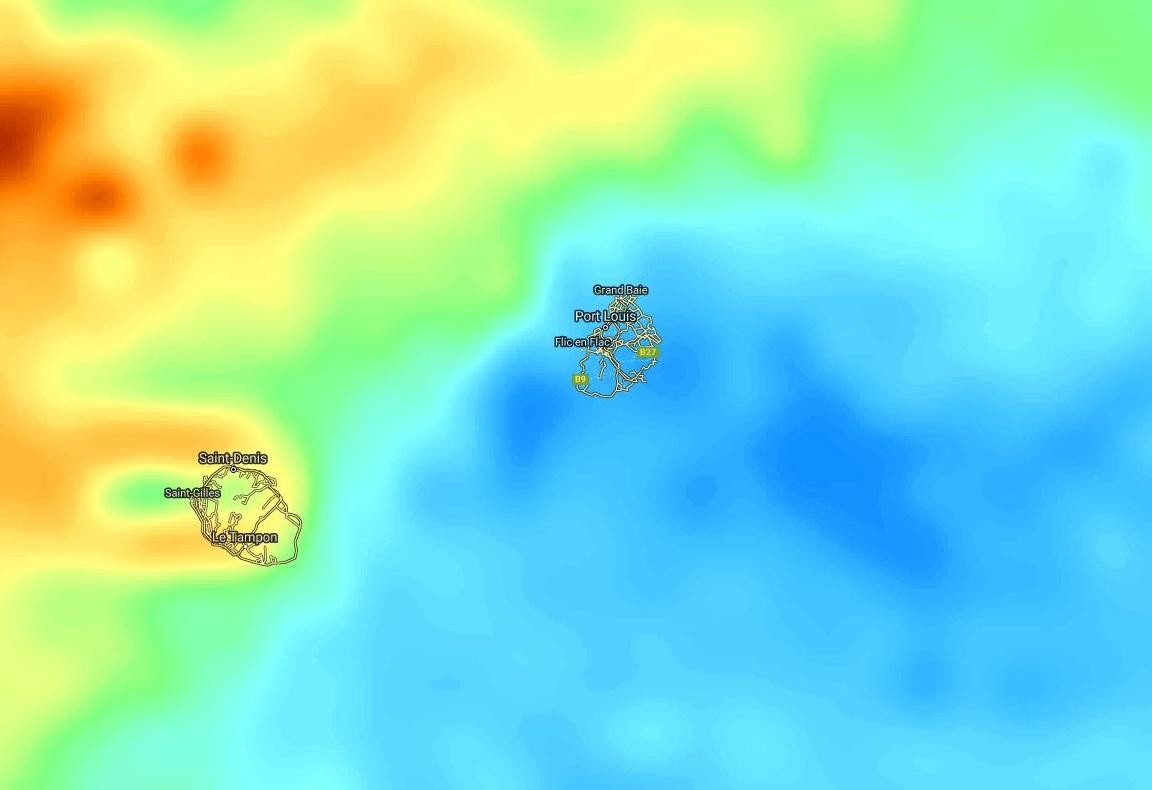 La masse d'air s'assèche(bleu) temporairement par l'est dans la région des Iles Soeurs.