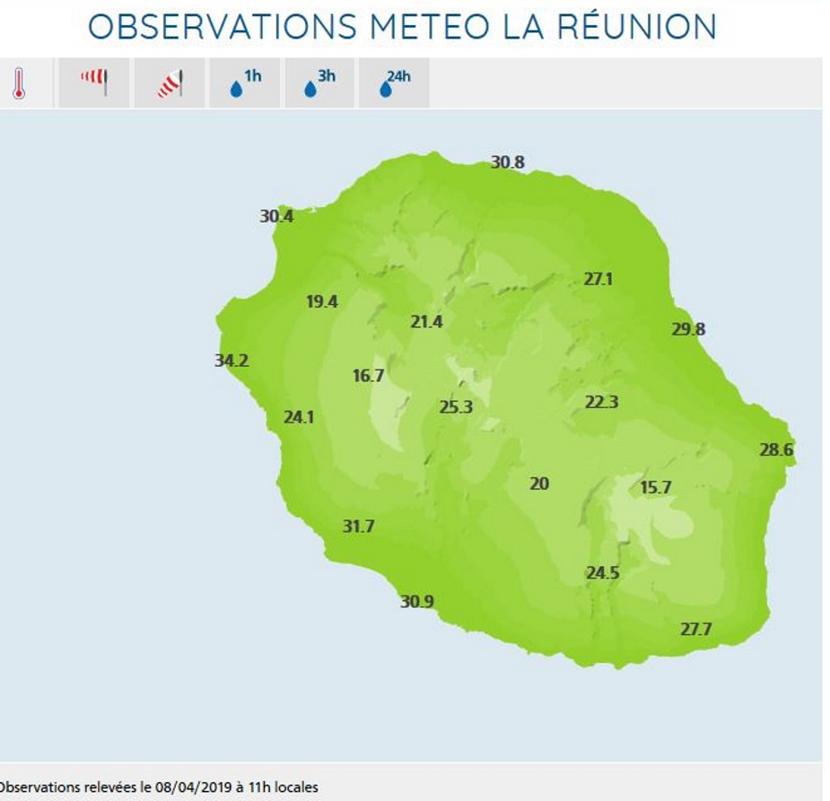 Stations de Météo France Réunion