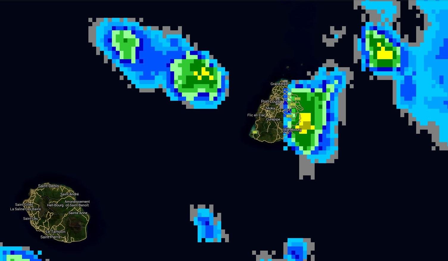 10h45: des nuages actifs touchent les régions est et nord-est de Maurice.