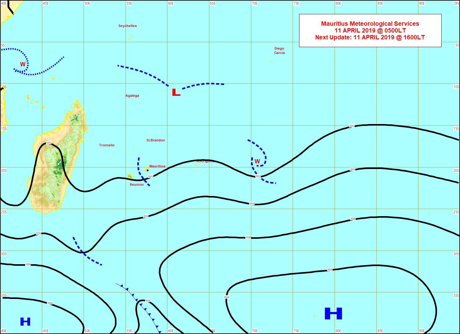 Carte établie par MMS/Vacoas à 4heures. Les vents ont faibli quelque peu sur les Mascareignes. Le flux est modéré. La haute mer reste agitée mais moins houleuse.