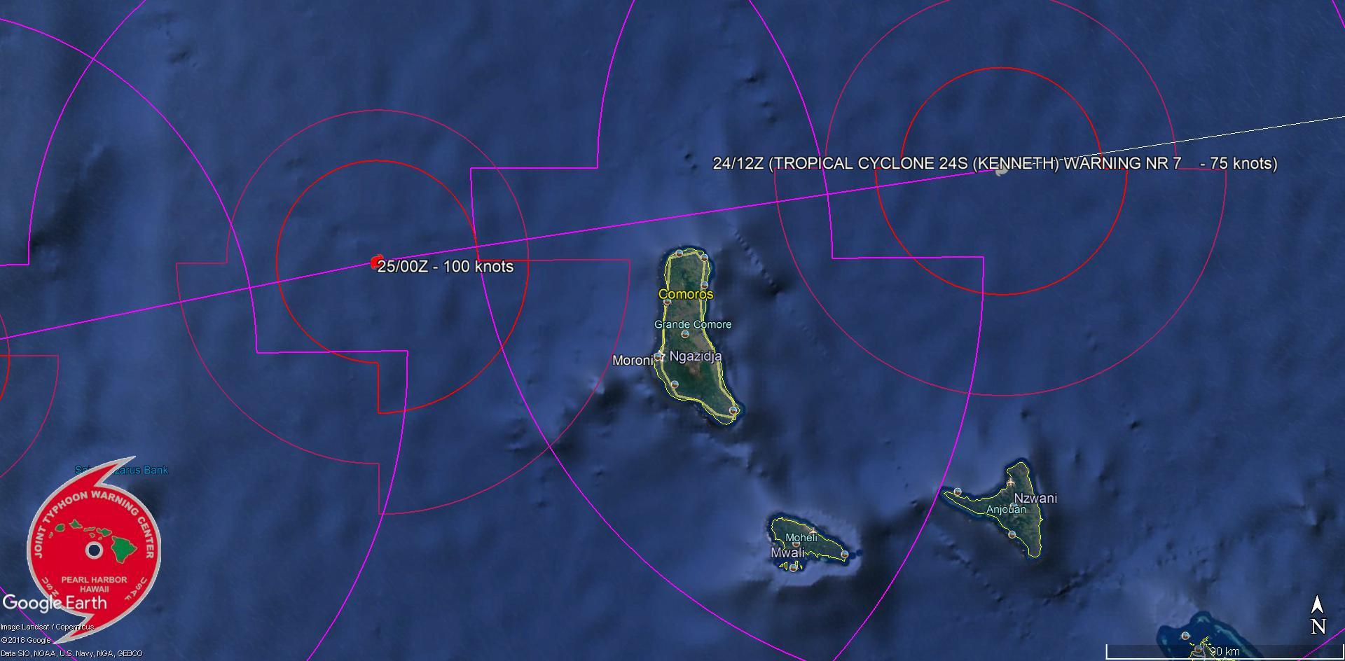 Sur cette prévision l'oeil du cyclone KENNETH pourrait passer à moins de 15km des côtes nord de Grande Comore en milieu de nuit prochaine.