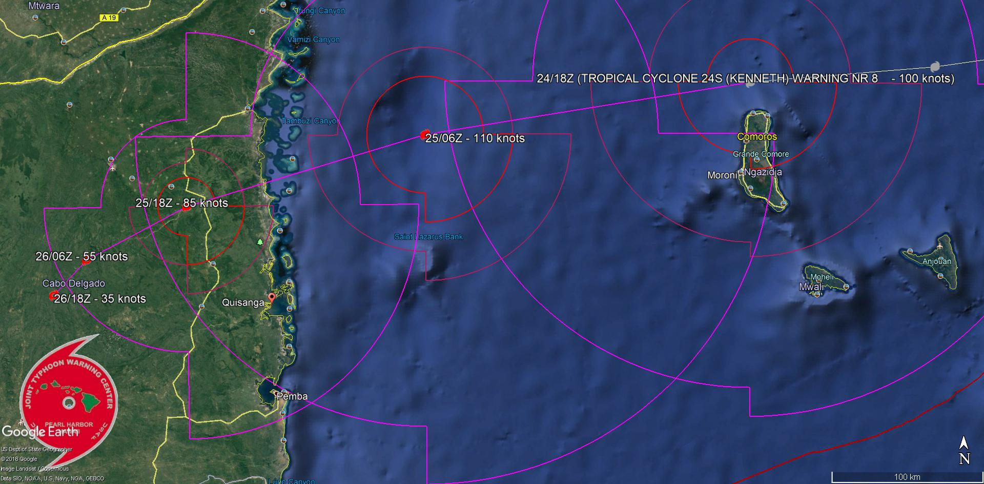 TRACKING 15/20KM NORTH OF GRANDE COMORE AND APPROACHING MOZAMBIQUE