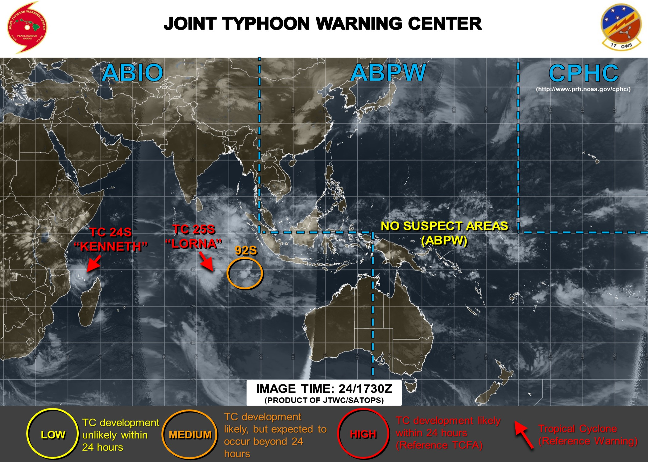 18UTC: INVEST 92S is now medium and may interact with TC LORNA(25S) after 48hours