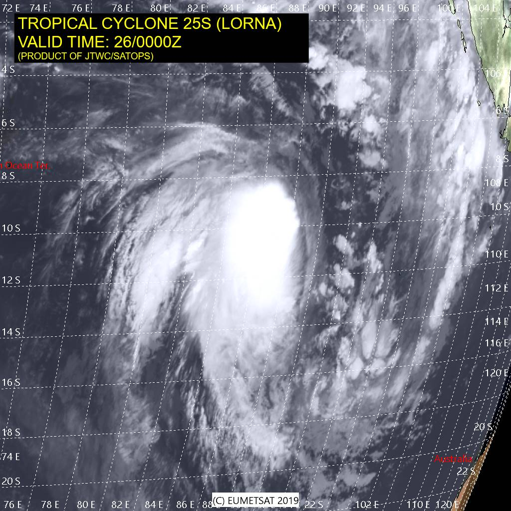 SOUTH INDIAN: (03UtC): TC LORNA(25S) now category 1 US, intensifying over open seas