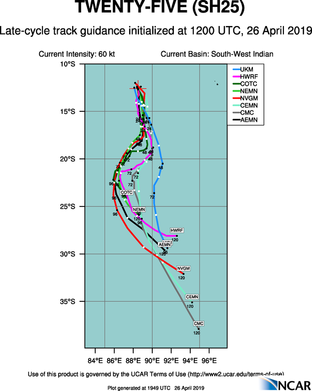 21UTC: TC LORNA(25S):  category 1 US, recent signs of intensification, remaining over open seas