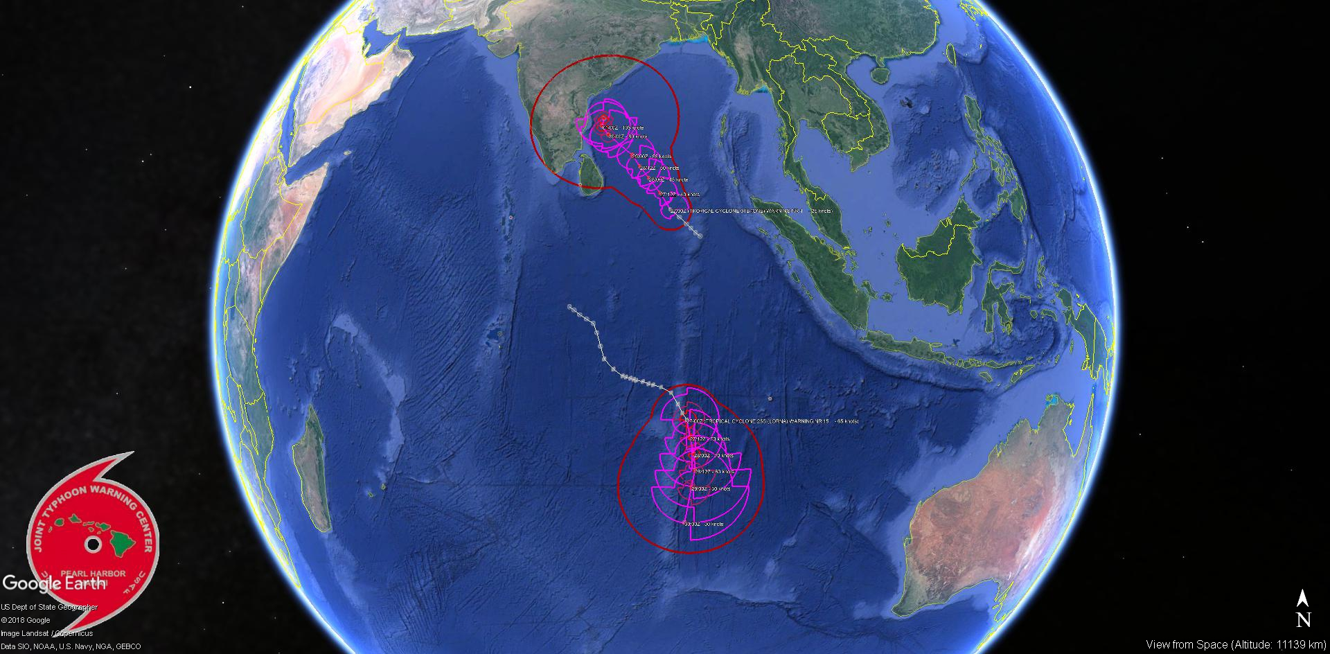 INDIAN OCEAN: TC 01B has formed, forecast to intensify next 4 days. TC LORNA(25S) category 1 intensity to peak next 24hours