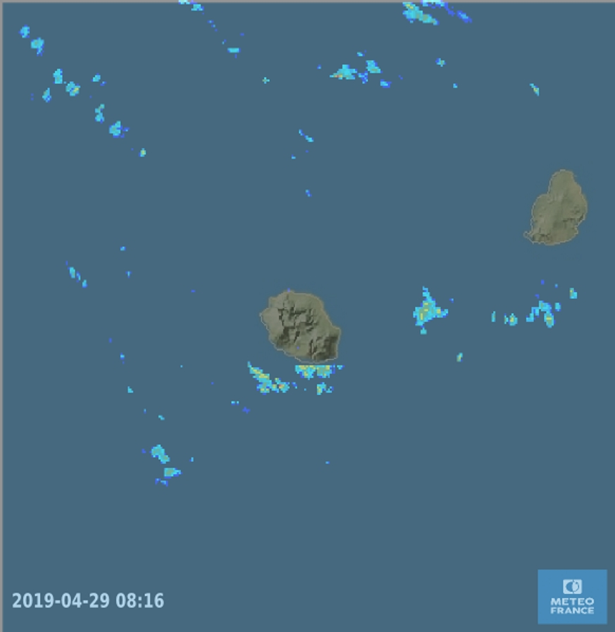 08h31: radars de Météo France Réunion: des entrées maritimes toucheront épisodiquement les régions sud des deux îles ces prochaines heures