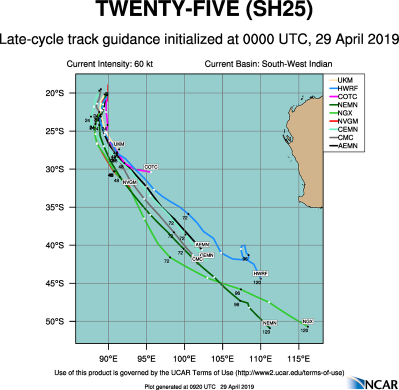 TC LORNA(25S) forecast to weaken rapidly within 24hours
