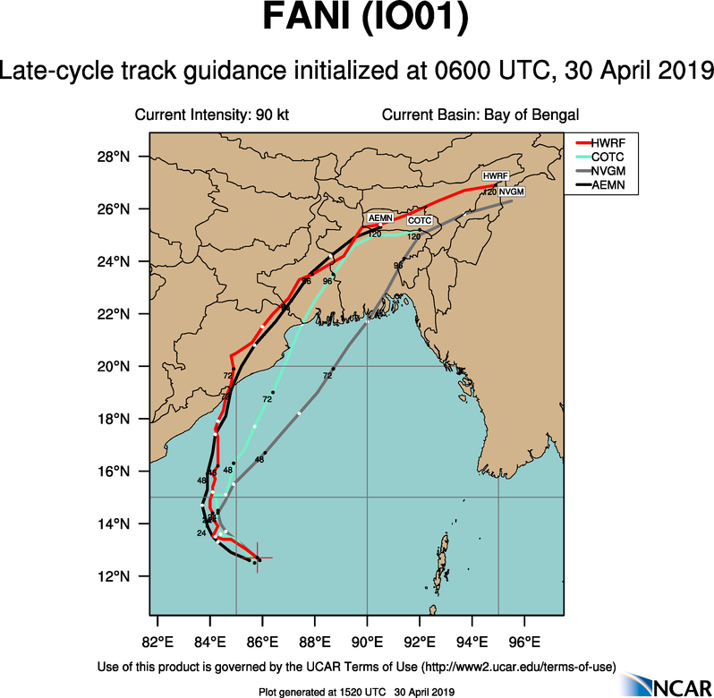 TC FANI(01B) near category 3 US, intensifying and being a serious threat to north-east India(VIDEO)