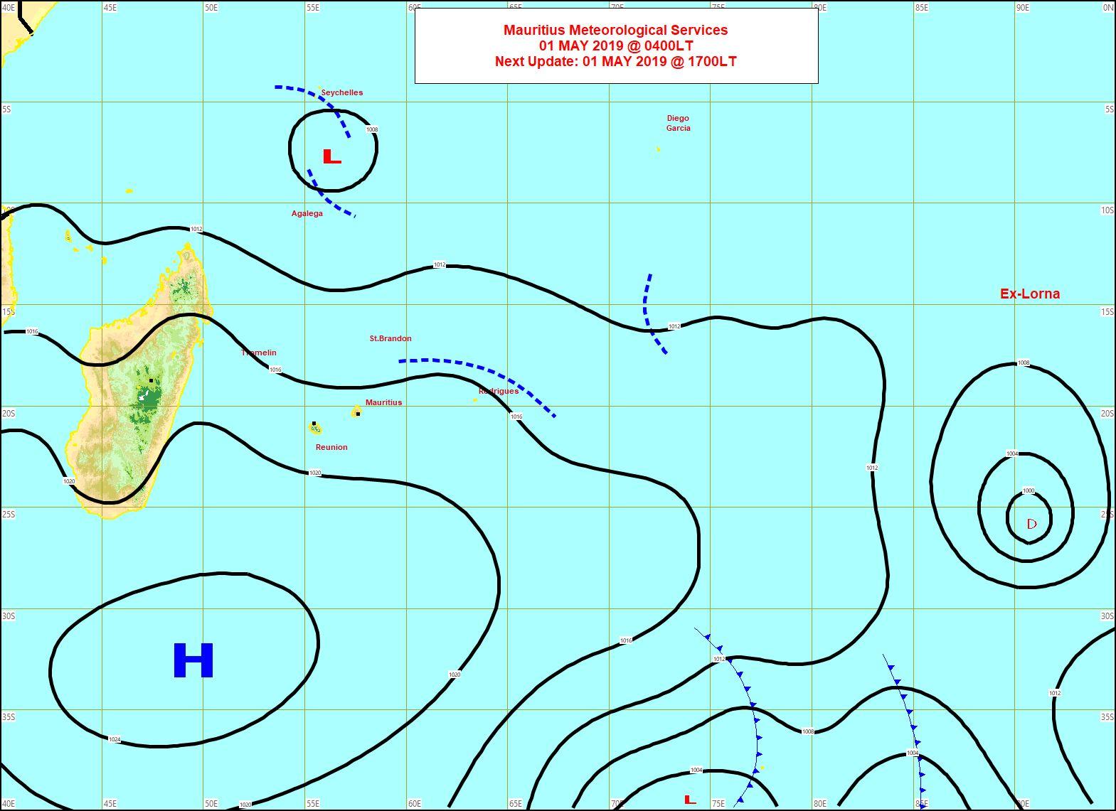 Carte établie à 04heures. L'anticylone est positionné au sud des Iles Soeurs et fait circulier un alizée modéré à rapide. MMS