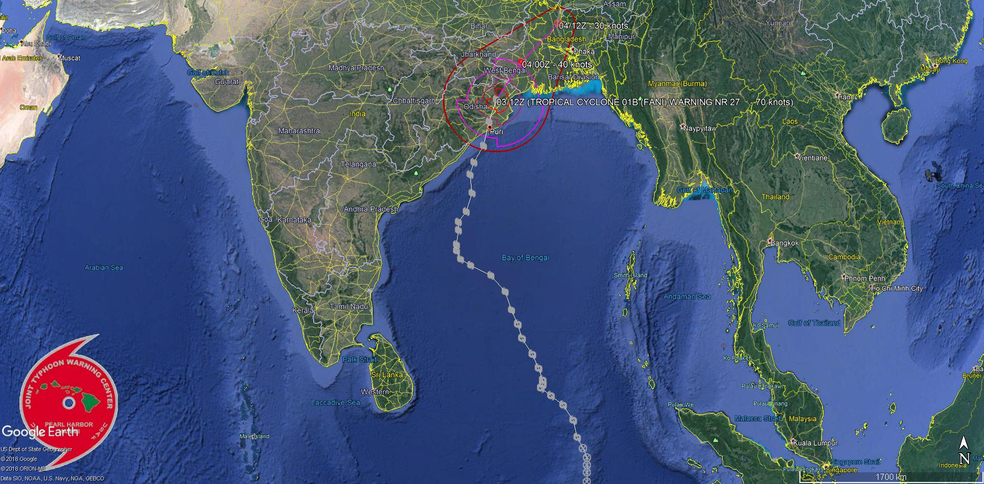 """FANI(01B) was the 1st """"Super Cyclone"""" over the North Indian basin since CHAPALA(04A) in October 2015"""