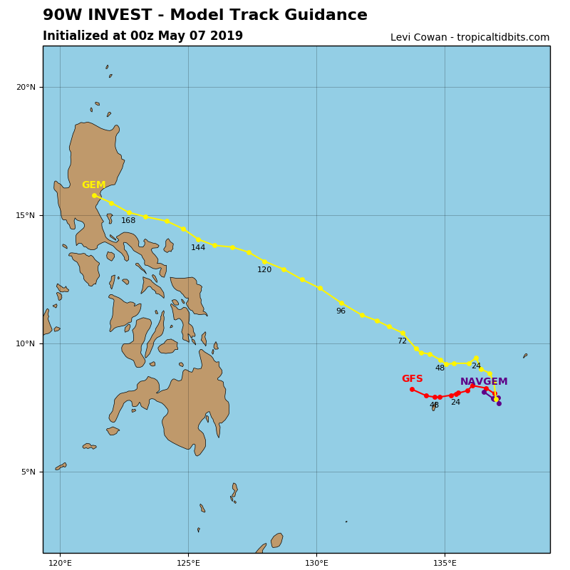 GUIDANCE(MODELS) FOR INVEST 90W: NOT MUCH EXPECTED WITHIN THE NEXT 48/72HOURS