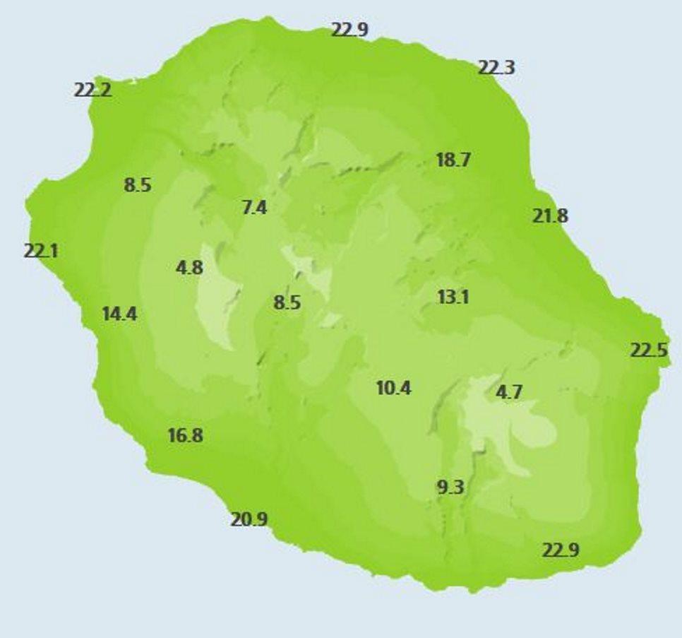 Températures relevées dans les stations de Météo France ce matin à 6heures.