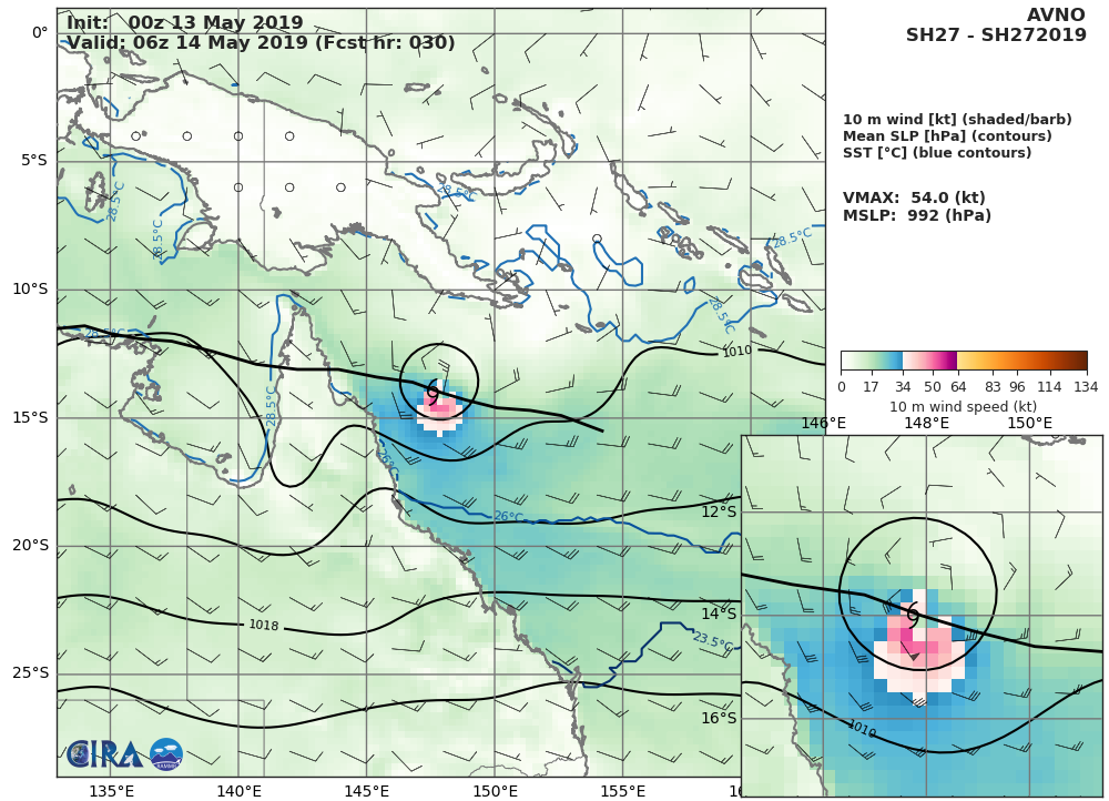 Coral Sea: TC ANN(27P) forecast to make landfall near Coen as a 45knots cyclone shortly after 36 hours