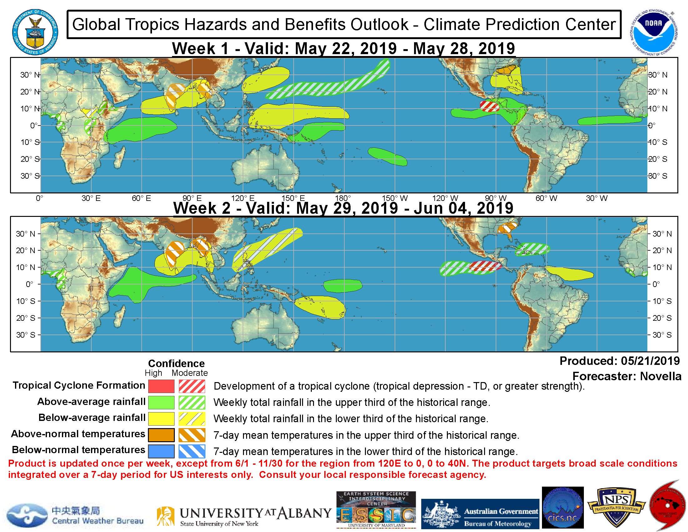 20190522: tropical cyclone formation possible across the Eastern North Pacific next 2 weeks. Likely calm elsewhere