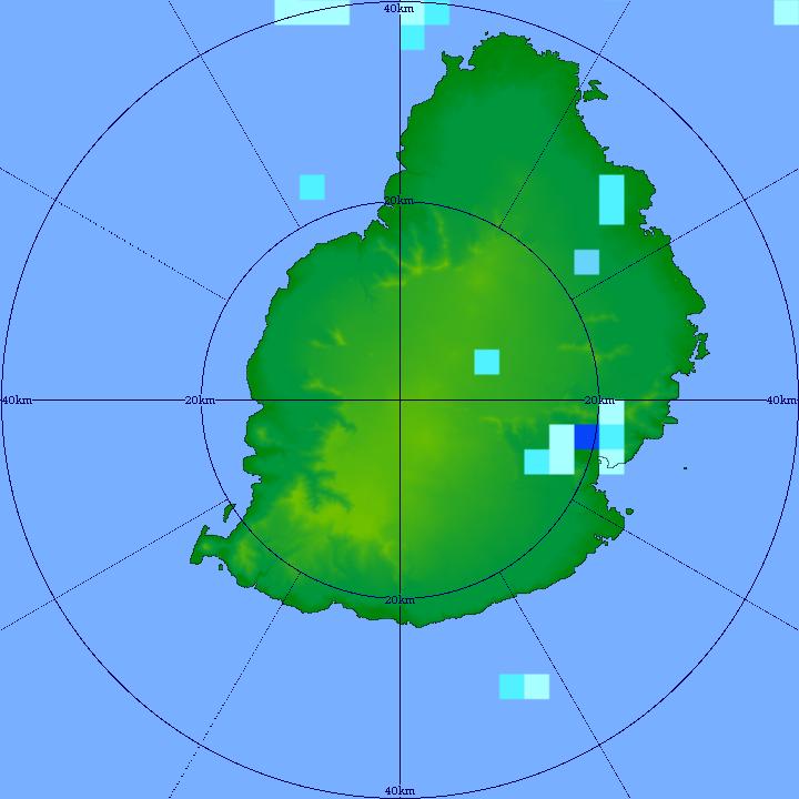 05h21: radar de Trou Aux Cerfs. Quelques averses sont notées dans l'est et le sud-est ce matin. Crédit image MMS