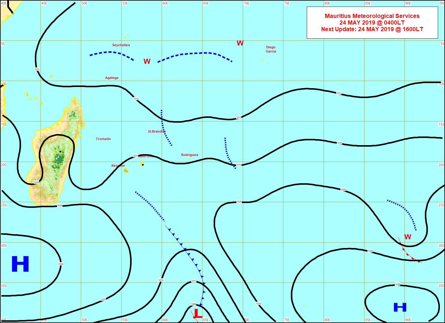 Situation en surface établie à 4 heures ce matin.  Un anticyclone s'approche de notre région par le sud-ouest. MMS/Vacoas.