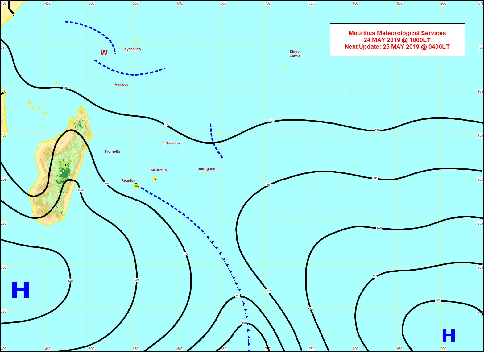 Les résidus du système frontal se trouvent au sud-est de la REUNION. L'anticyclone est au sud de MADA. Carte établie par MMS à 16h.