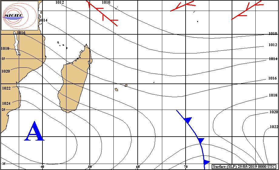 Carte d'analyse de surface établie à 4heures ce matin. L'anticyclone au sud de la Grande Ile évolue peu. Flux de sud-est modéré sur les Iles Soeurs. MTOTEC