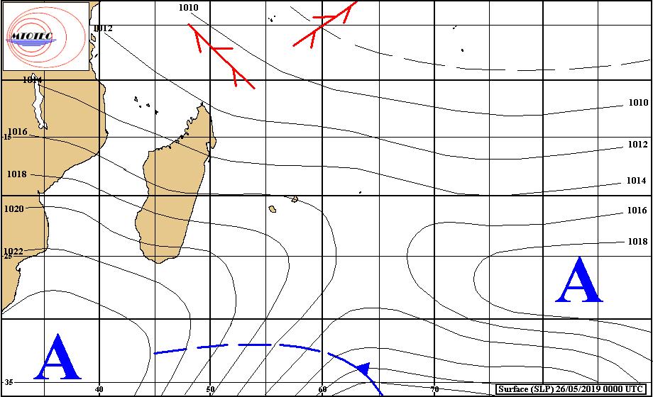 Analyse de la situation en surface à 4heures ce matin. L'anticyclone situé au sud de MADA évolue assez peu. MTOTEC