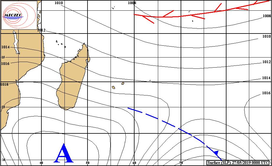 Analyse de la situation en surface ce matin à 4heures. L'anticyclone se positionne lentement au sud des Mascareignes. MTOTEC