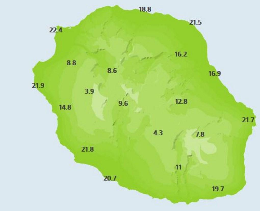 Températures rapportées par les stations de Météo France à 22heures.