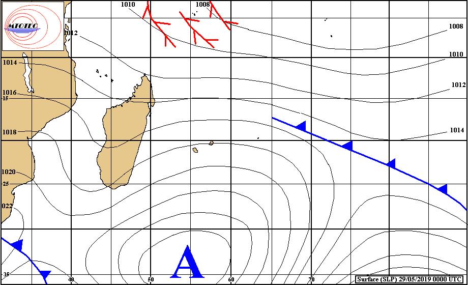 Carte d'analyse de la situation en surface à 4heures ce matin. L'anticyclone assez fort se positionne au sud des Mascareignes et provoque un temps venteux sur nos îles. MTOTEC