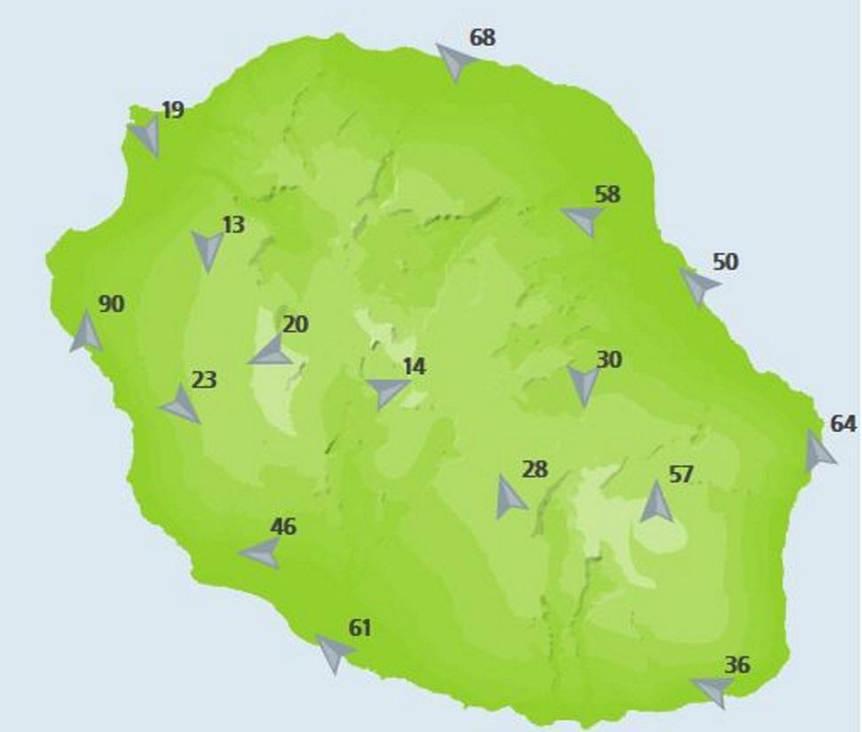 Rafales à 16heures dans les stations de Météo France. 90km/h près de la Saline, encore pratiquement 70km/h à Gillot.