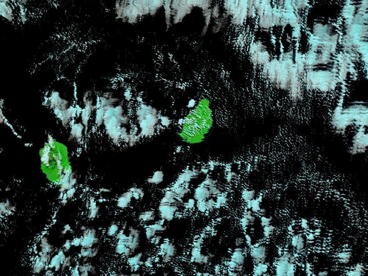 Noaa 20 à 14h12 cet après midi. Les nuages situés au sud-est et à l'est de MAURICE traverseront MAURICE par périodes aux cours des prochaines 24heures. NASA US
