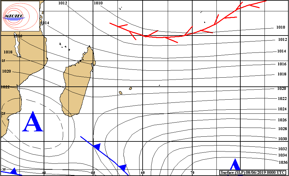 Analyse de surface de ce matin. Une limite frontale remonte graduellement vers la REUNION. Cellule anticyclonique au sud-ouest de la Grande Ile. Net renforcement des vents à partir de lundi après le répit dominical. MTOTEC