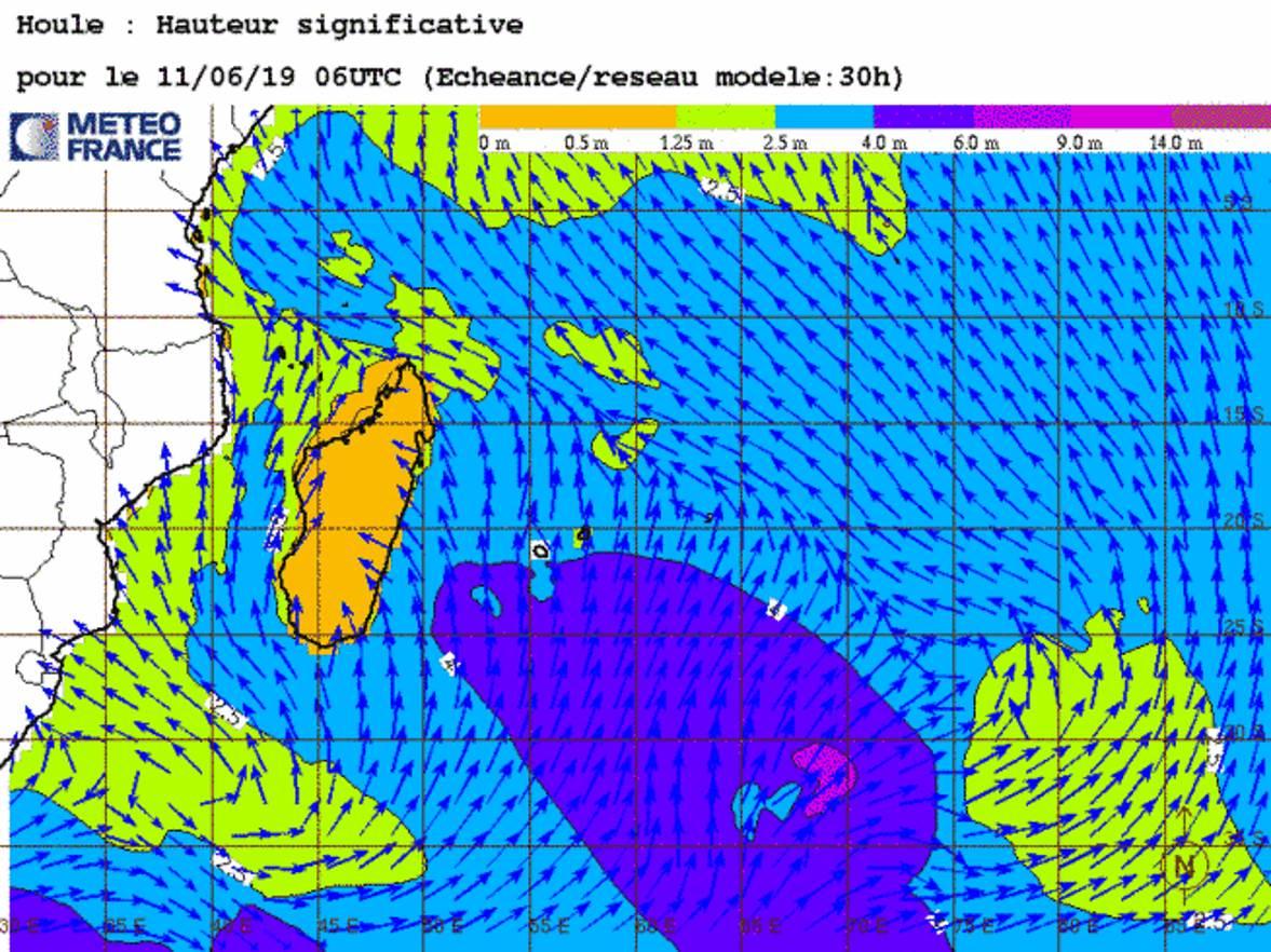 Simulation du modèle qui montre des vagues de 4mètres au sud de MAURICE mardi matin. METEO FRANCE