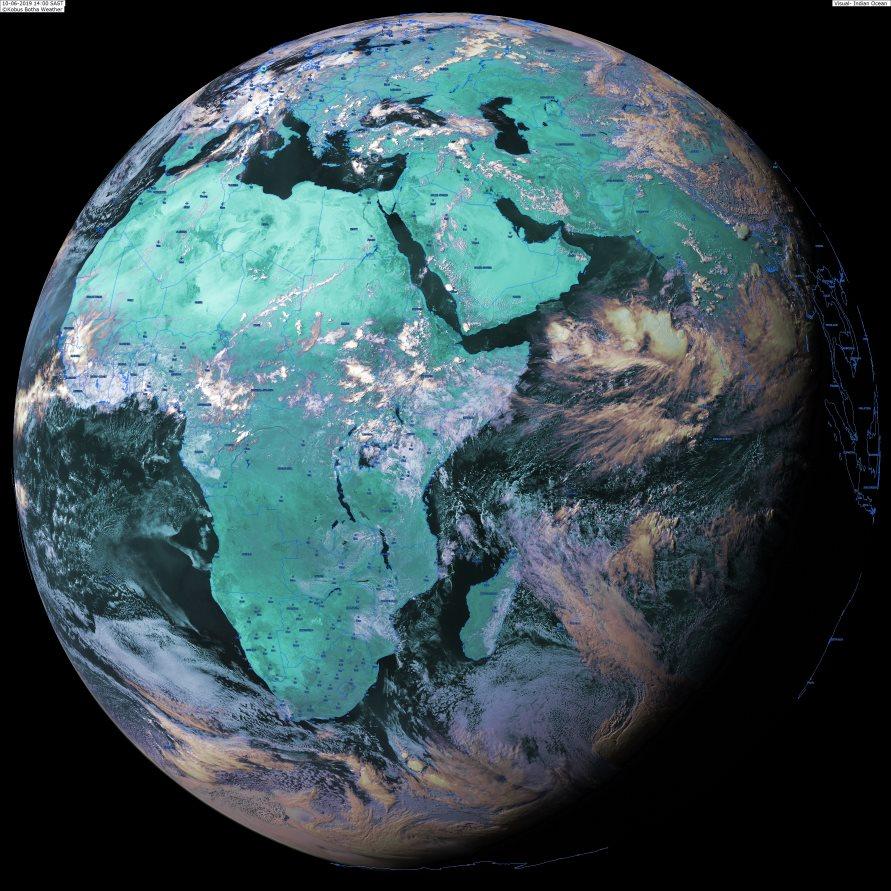 Globe Météosat à 16heures. Une dépression tropicale se développe sur le nord de l'Océan Indien à l'ouest des côtes indiennes. KOBUS/PH