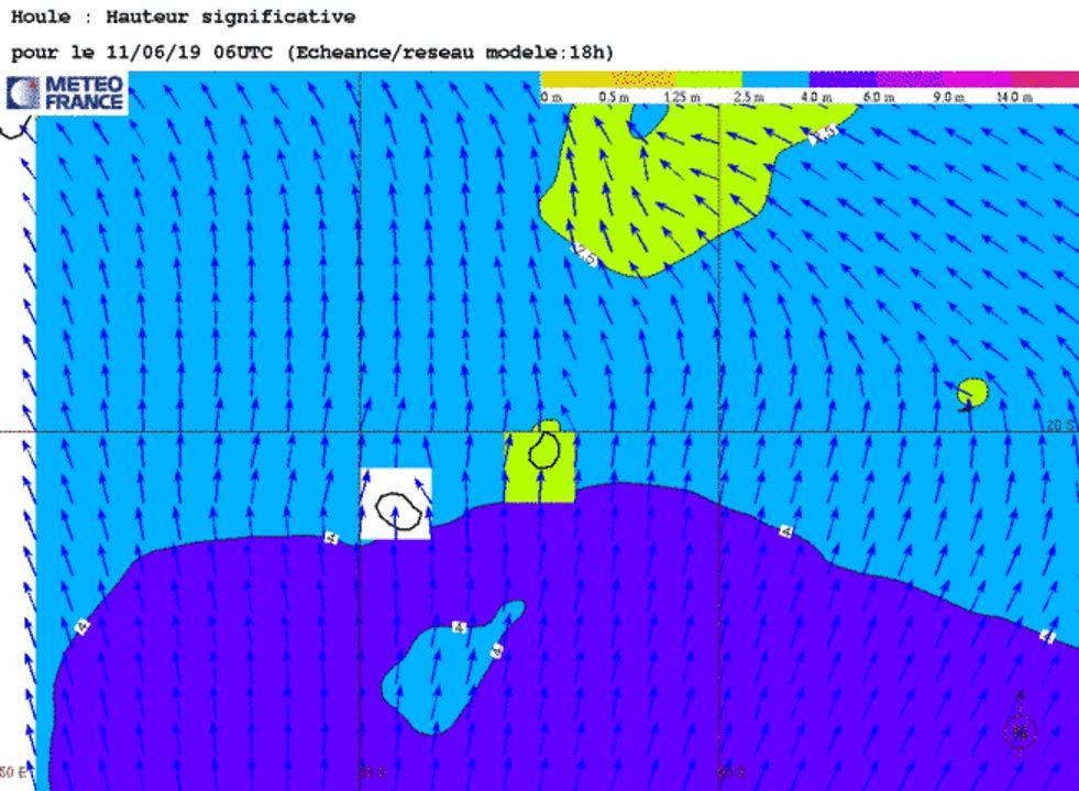 Le modèle montre les vagues de l'ordre de 4mètres transitant au sud de la REUNION avec un pic ce matin. METEO FRANCE