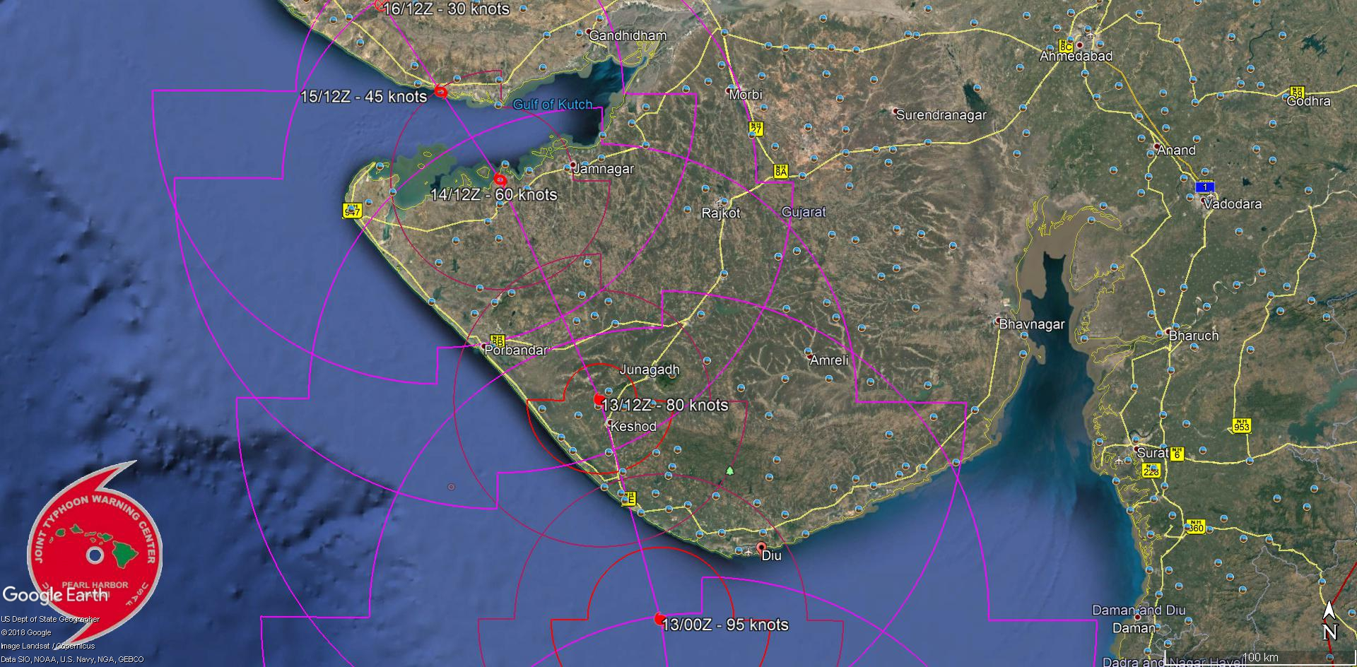 FORECAST LANDFALL AREA BETWEEN DIU AND PORBANDAR SHORTLY AFTER 36H AS A STRONG CATEGORY 2 US