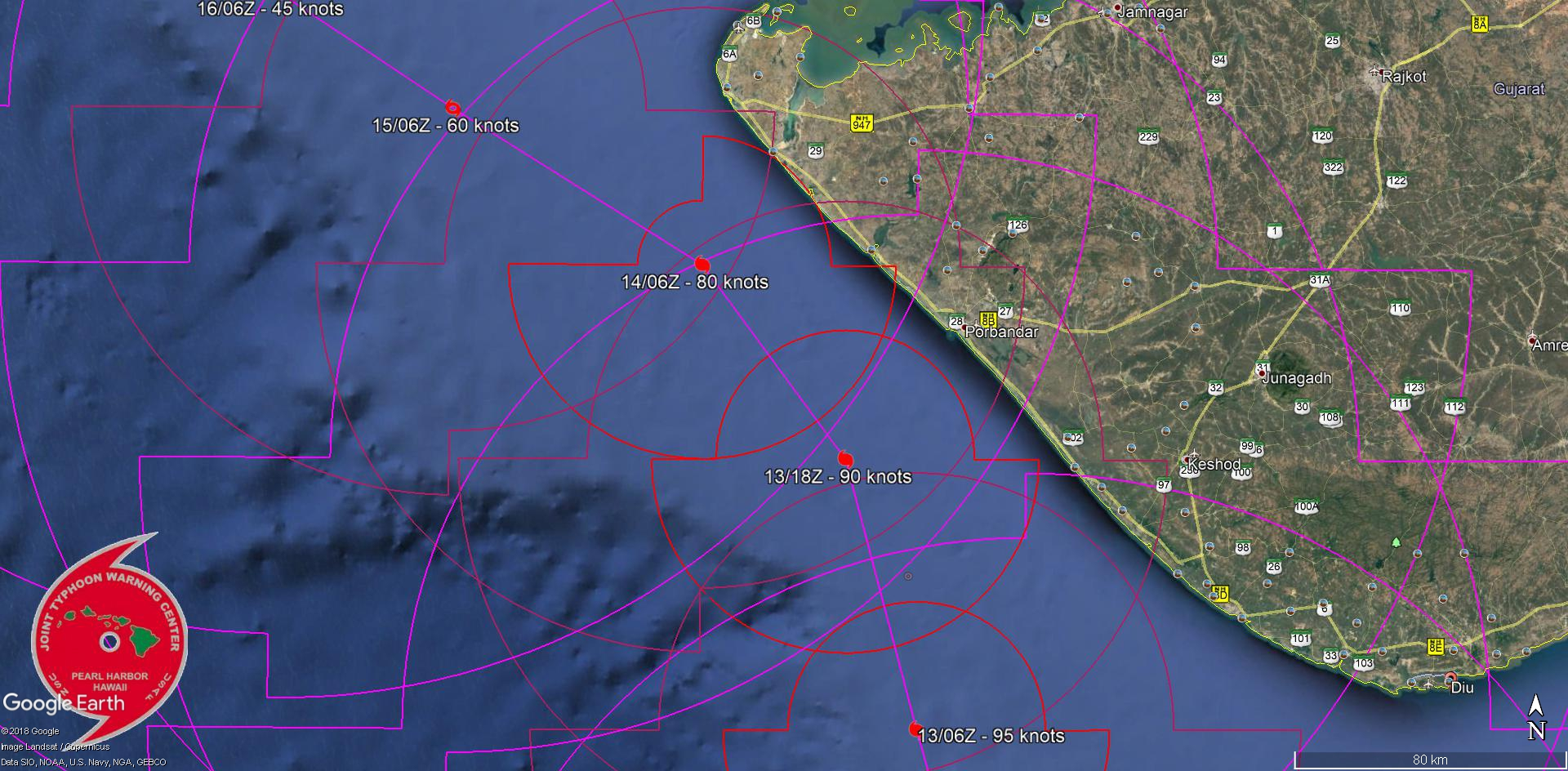 FORECAST TO TRACK CLOSE TO PORBANDAR IN 36H