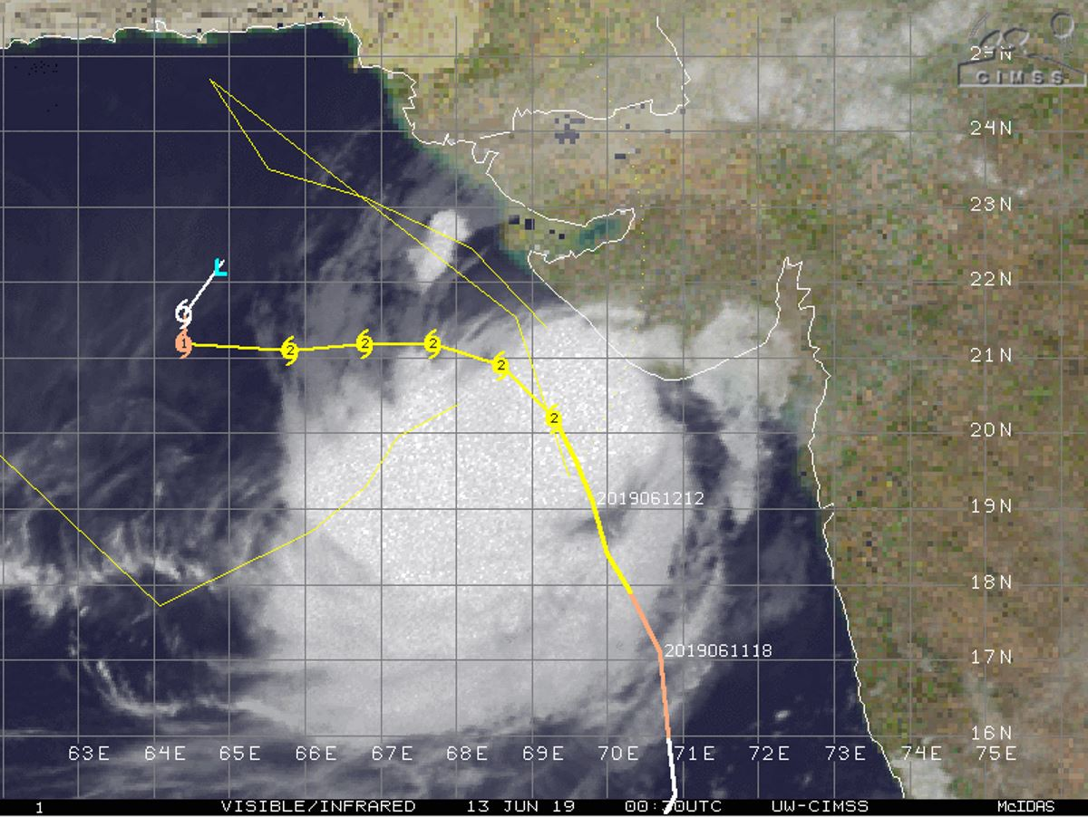 Cyclone VAYU(02A) category 2 US forecast to track more than 100km to the west of Porbandar