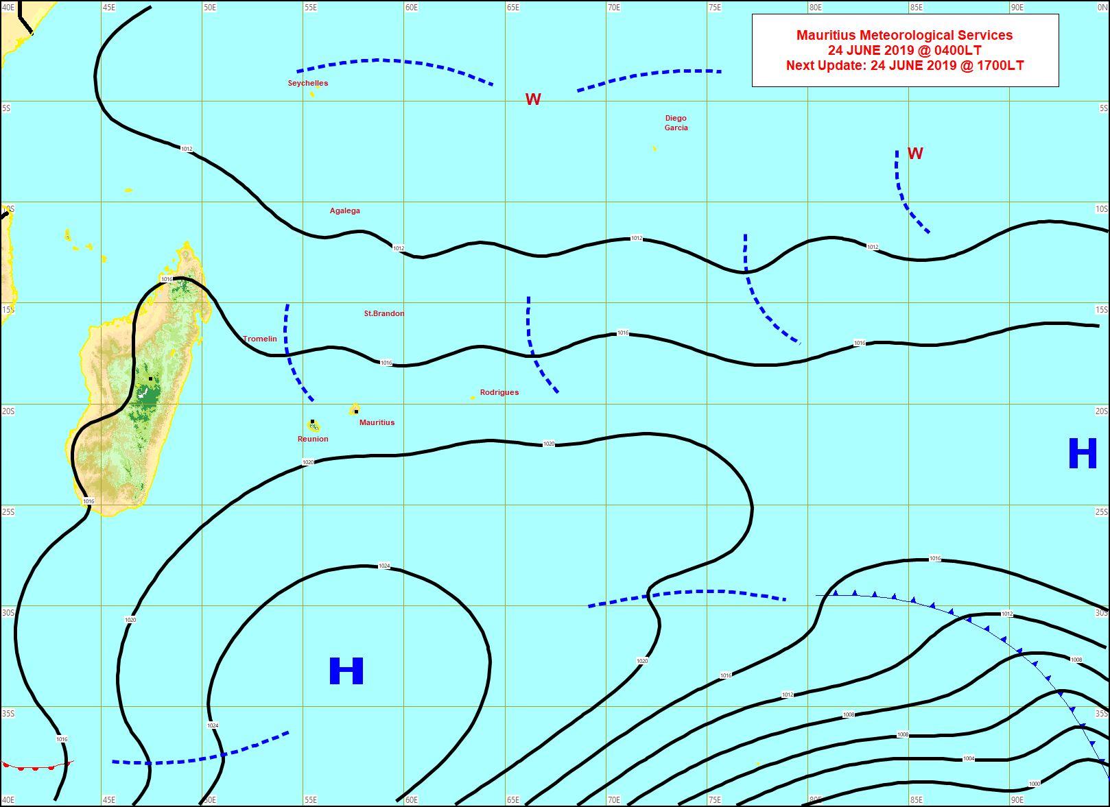 Affaibli l'anticyclone(H) maintient néanmoins un temps encore plutôt venteux sur la zone. On note davantage d'instabilité potentielle à proximité des Mascareignes(lignes en pointillé). MMS