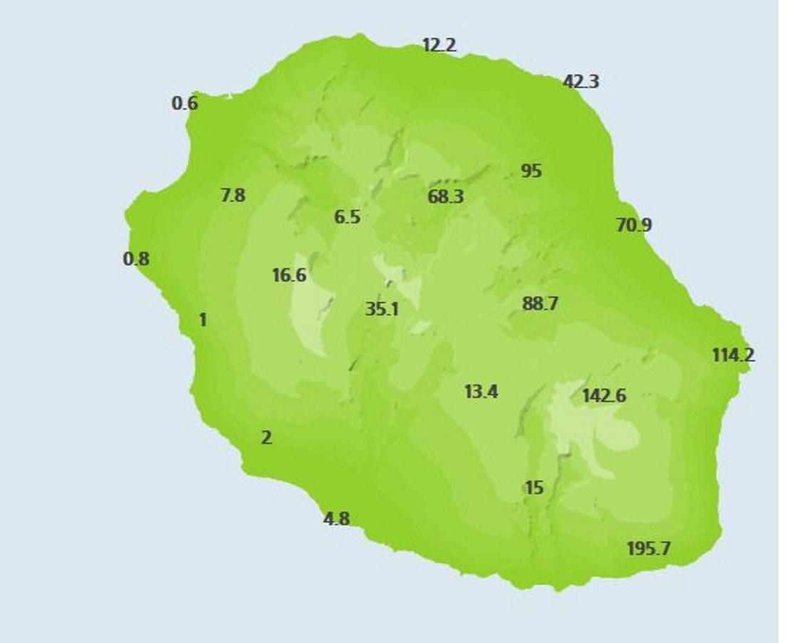 A 10heures: cumuls en 24heures dans les stations de METEO FRANCE