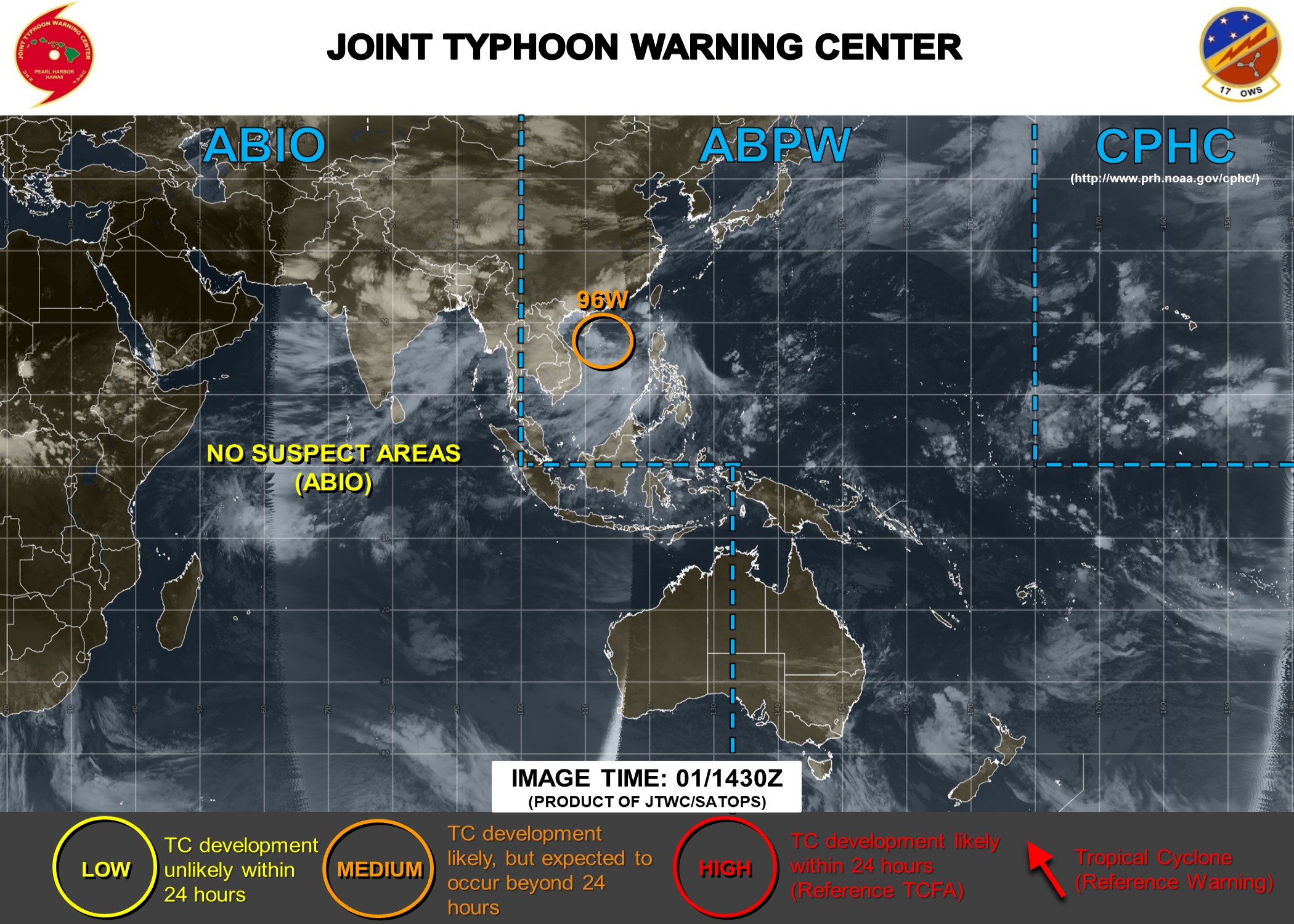 South China Sea: INVEST 96W now upgraded to MEDIUM