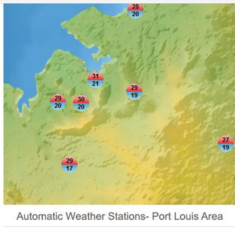 Températures relevées sous abir dans les stations de MMS le Mercredi 10 Juillet 2019. 30.6° à Port Louis et pratiquement 30° à la Montagne des Signaux. MMS