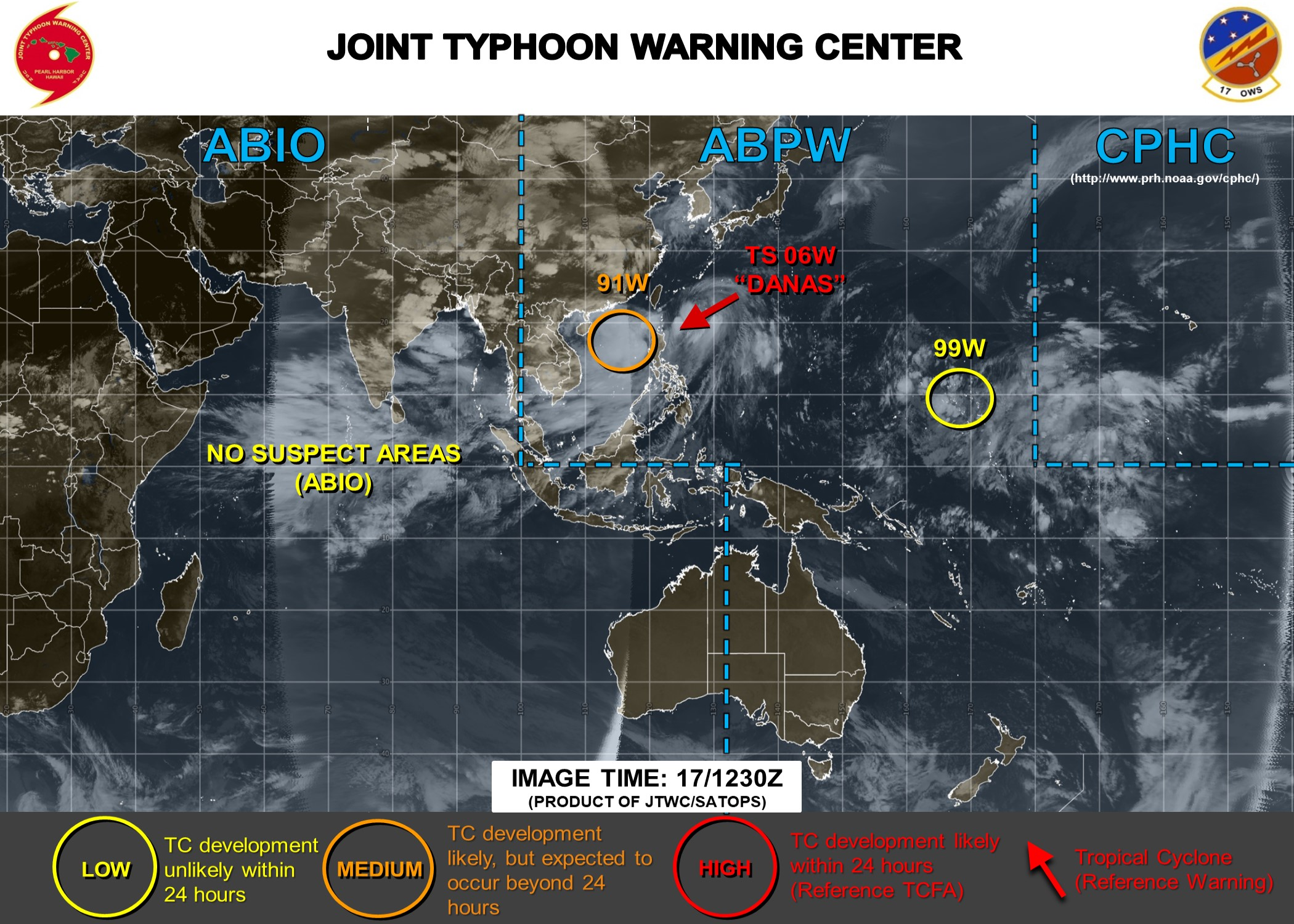 TS DANAS(06W) still weak whereas INVEST 91W and INVEST 99W are now being closely monitored