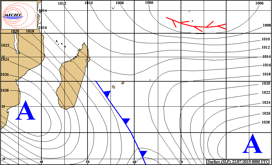 Analyse de la situation de surface ce matin. Le système frontal est dans le voisinage de la REUNION. Il est suivi par l'anticyclone et des températures plus conformes à l'hiver austral. MTOTEC
