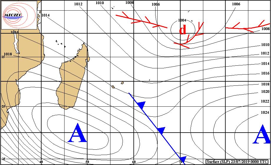 """Analyse de surface de ce matin. Le système frontal s'éloigne des Iles Soeurs. L'anticyclone domine à présent au Sud Sud-Est de MADA. Loin au Nord-Est des Mascareignes on note la présence de la """"zone suspecte"""" 96S. MTOTEC"""