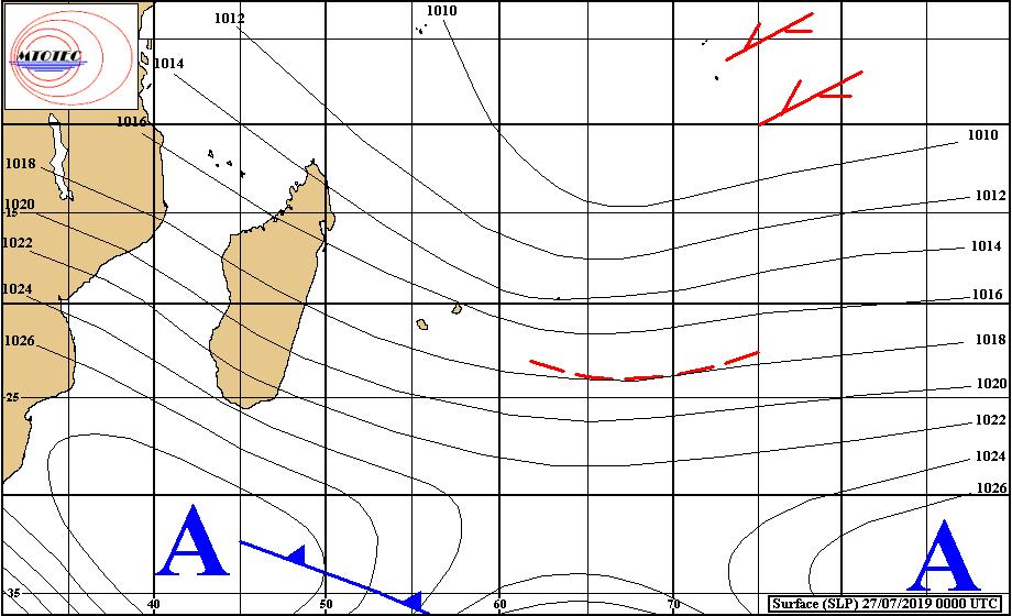 Analyse de la situation de surface ce matin. Un nouvel anticyclone(A) est en est approche par le Sud-Ouest. MTOTEC