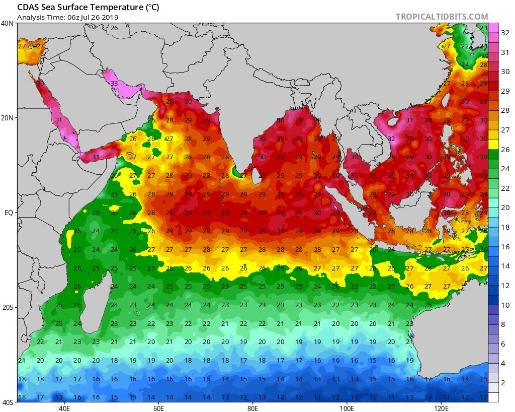 Températures de surface de l'océan lues par les satellites spécialisés. Autour de 23/24° dans notre région. MTOTEC