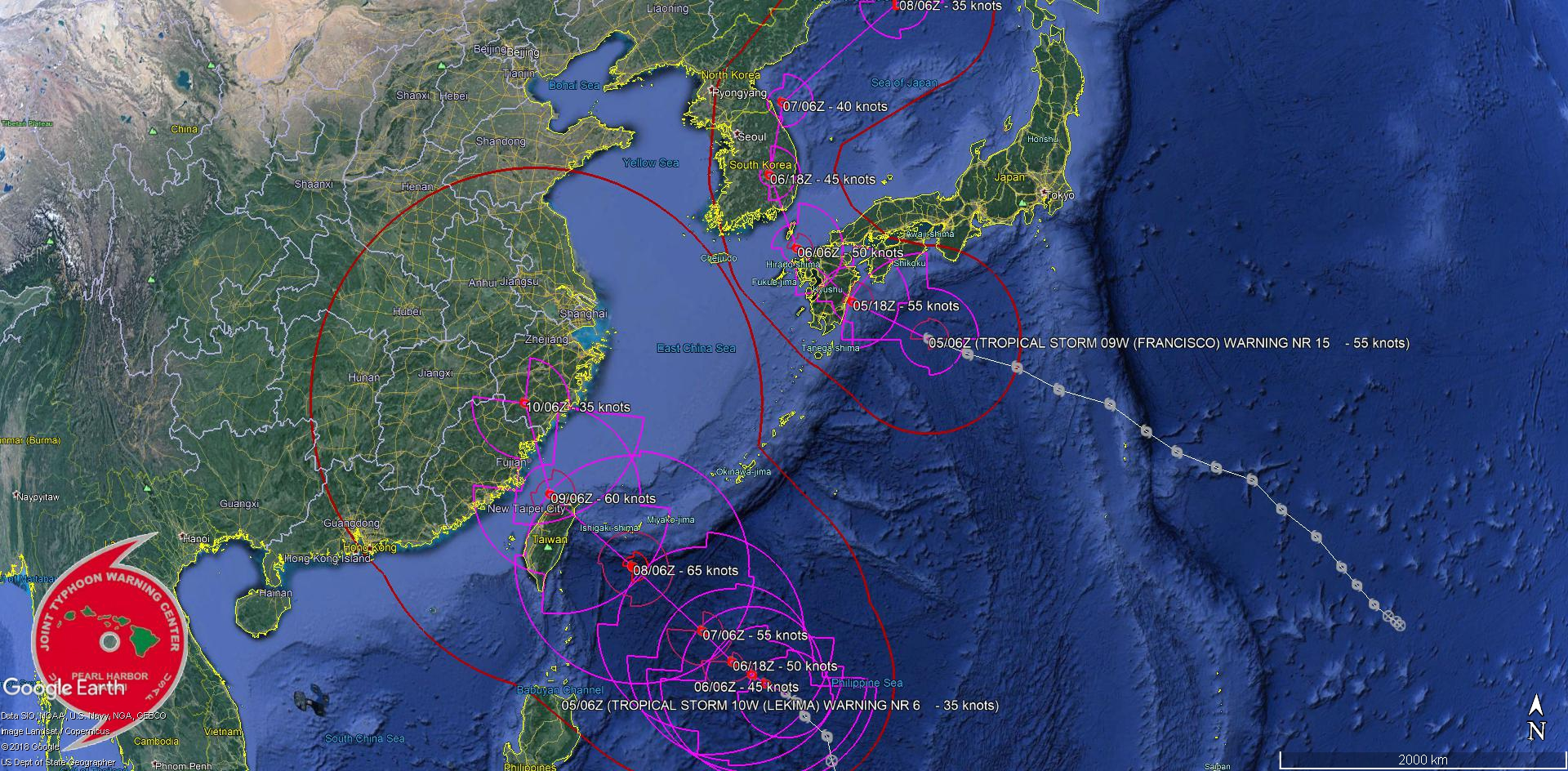 FRANCISCO(09W): Kyushu landfall in 12h. LEKIMA(10W): typhoon in 72h. 95W: now Medium