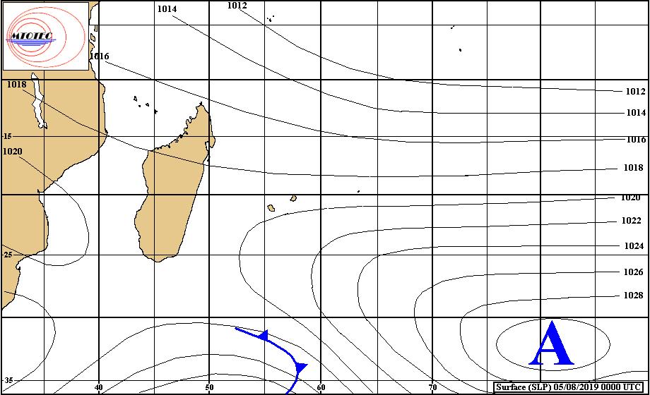 Analyse de surface ce matin. Les vents sont encore faibles aujourd'hui sur les iles Soeurs. MTOTEC