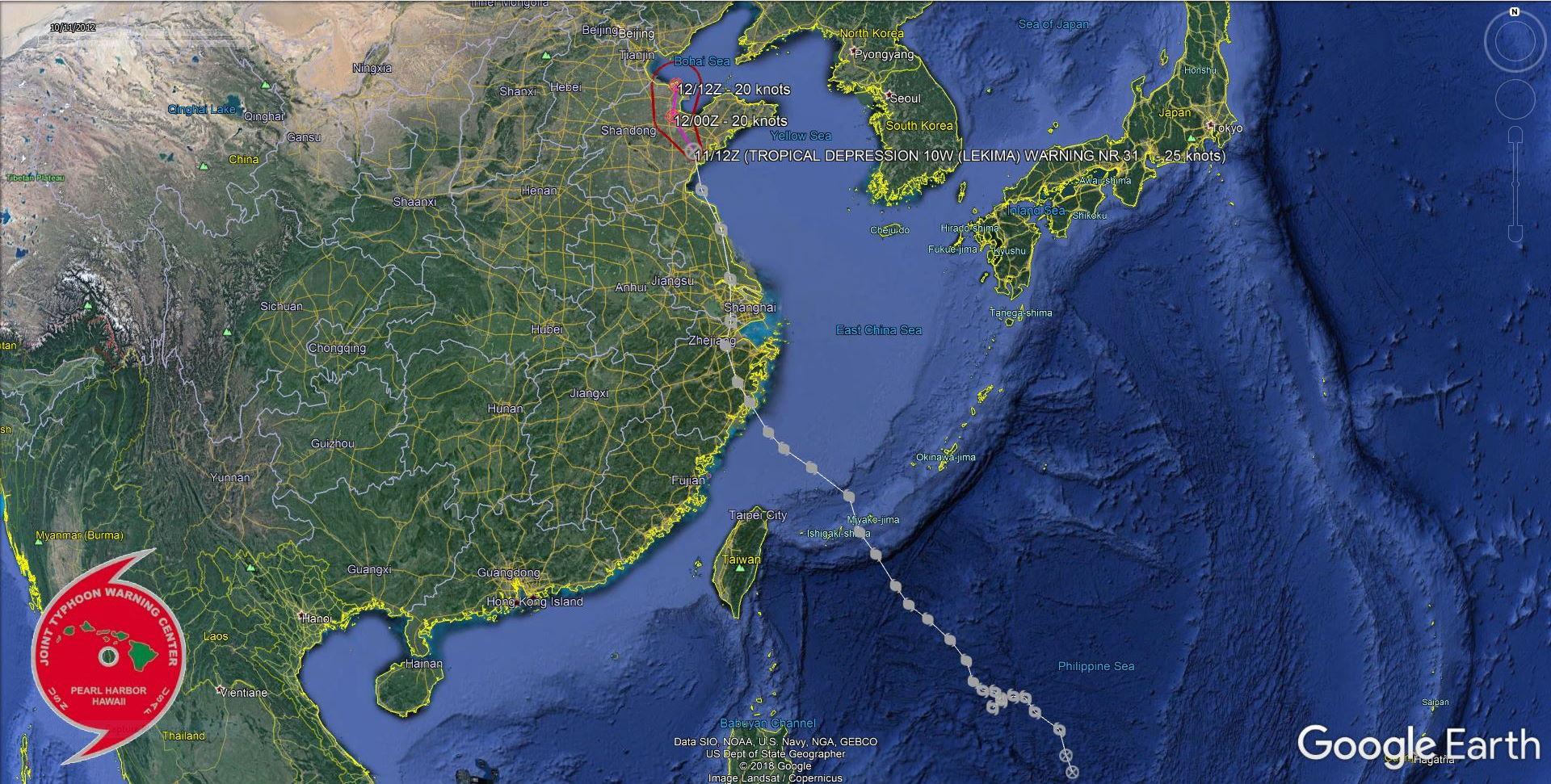 """Trajectoire suivie par le Typhoon """"LEKIMA(10W)"""" qui avait atteint son pic d'intensité à l'Est de Taiwan soit le premier stade de Super Typhon(= super cyclone) avec des rafales estimées à 300km/h près de l'oeil en mer. JTWC"""